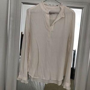 LOFT white ruffle blouse